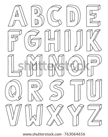 3D outline alphabet from letter A to Z in A4 Sheet.