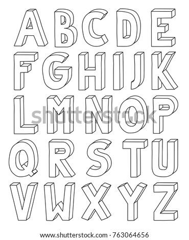 3 D Outline Alphabet Letter Z A 4 Stock Vector Royalty Free