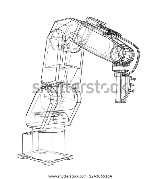 3d Outline Robotic Arm Vector Rendering Stock Vector (Royalty Free
