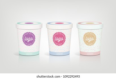 3d packaging design illustration template round bucket cylinder container ice cream yogurt pudding snack sweets Tupperware lid spring bright pastel