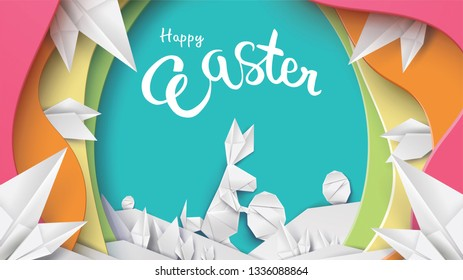 3d paper cut illustration of colorful easter rabbit, grass, flowers and egg shape. Happy easter greeting card template. - Vector
