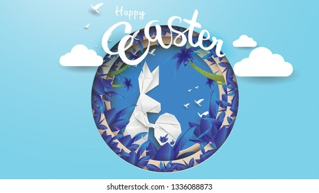 3d paper cut illustration of easter rabbit, grass, flowers, plant, tree and egg shape with nature concept. Happy easter greeting card modern template. - Vector