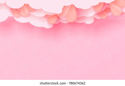 3d paper cut illustration of hearts on pink background with clouds. Vector colorful poster or banner template.