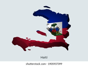 3D Paper cut map of national flag vector illustration. Creative and minimal illustration. Scratches and ripped. For wallpaper, poster, banner, backdrop, background. Eps 10. Haiti flag