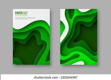 3d paper cut style posters. Shapes with shadow in green colors. Layered effect, carving art. Design for ecology or spring time background. Vector