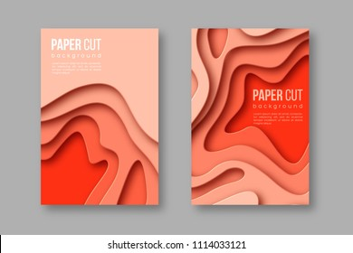 3d paper cut vertical banners. Shapes with shadow in different terracotta color tones. Papercraft layered art. Design for decoration, business presentation, posters, flyers, prints. Vector.