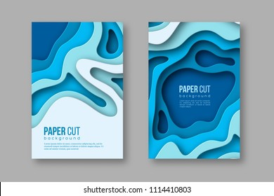 3d paper cut vertical banners. Shapes with shadow in different blue color tones. Papercraft layered art. Design for decoration, business presentation, posters, flyers, prints. Vector.