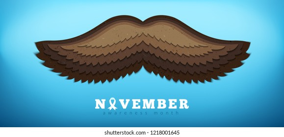 3d paper cutting technique mustache. Prostate cancer awareness month banner. Blue ribbon vector illustration