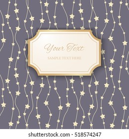 3d paper figure frame with golden borders on seamless ornamental blue background with stars. Paper cut design. Invitation or greeting card design template. Vector illustration
