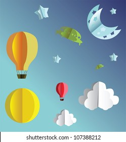 3d paper flying objects - balloons, UFO, clouds, sun, moon and stars