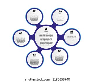3d paper infographic elements for six options. Metaball business infographics. Template for circle infographic.