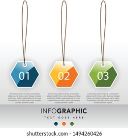 3d paper infographic template design elements, In the form of a hexagon, honeycomb style. with main idea and 3 steps or options, workflow, process chart