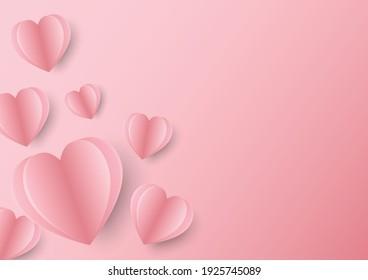 3d paper shape love postcard design for valentine with pink background