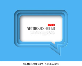 3d paper speech bubble, blue color. Layered effect with shadow. Vector illustration.
