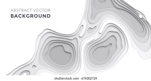 3D papercut layers in gradient texture vector banner. Abstract paper cut art background design for website template. Topography map concept or smooth origami paper cut layout