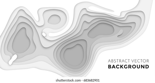 3D papercut layers in gradient texture vector banner. Abstract paper cut art background design for website template. Topography map concept or smooth origami paper cut.