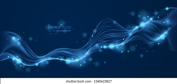 3d particles mesh array, sound wave flowing over dark. Round shining points vector effect illustration. Blended mesh, future technology relaxing wallpaper.