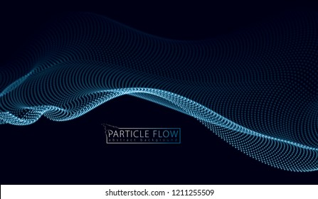 3d particles mesh array wave, sound flowing. Blurred round lights vector effect illustration. 3d futuristic technology style.