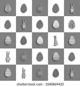 3d pattern with eggs and rubbits. Vector background