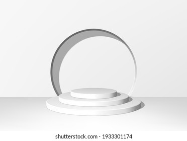 3d pedestal or podium with round steps on stage and minimalistic white background