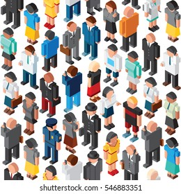 3D People Crowd Seamless Vector Pattern. Various People Occupation and Professions. Vector Background