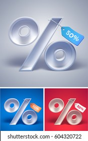 3d percentage symbol with tag on it on different backgrounds. Vector illustration