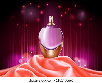 3d perfume bottle or sprayer. Package design for perfume. Realistic glassware container for woman or female deodorant. Perfumery and beauty, cosmetic and odor, advertising and branding theme