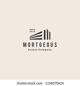 3d perspective house home mortgage architecture hipster vintage logo emblem vector icon