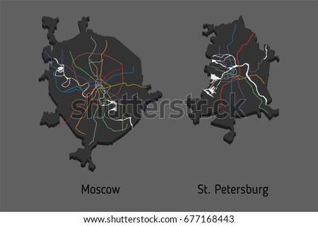D Subway Map.3 D Perspective Subway Map Moscow St Stock Vector Royalty Free