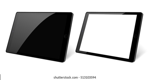 3d Perspective view. Set of black Tablet computer with blank black and white screen isolated. Black device PC. Tablet Vector eps 10 devices illustration. Pad with blank screen.