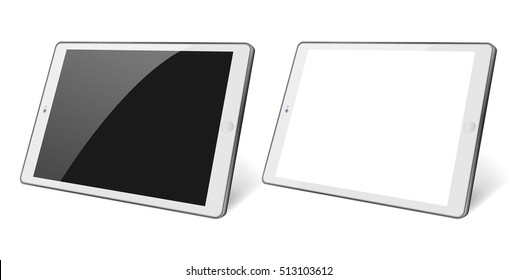3d Perspective view. Set of white Tablet computer with blank black and white screen isolated. White device PC. Tablet Vector eps 10 devices illustration. Pad with blank screen.