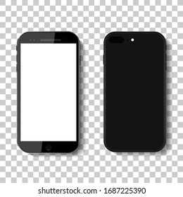 3d phone mock up isolated on transparent background.Black smartphone mock up in modern style.Device with white blank screen.8,7,6 mobile in front and behind.Realistic cellphone display for app.Vector.