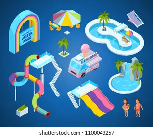 3D pictures of water park attractions. Vector isometric slide and amusement, illustration activity entertainment