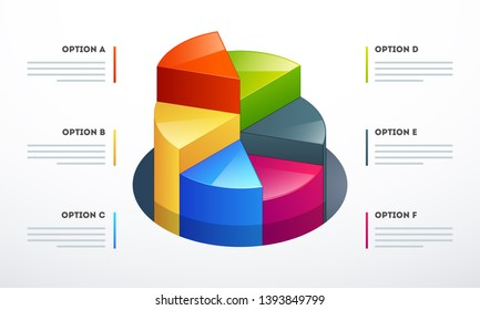 3d pie chart in different growth steps for Business Infographics concept.