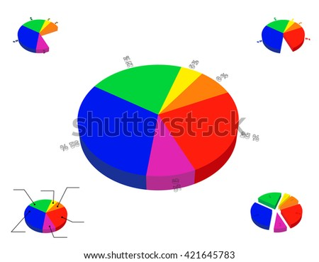 3 d pie chart template isolated on stock vector royalty free