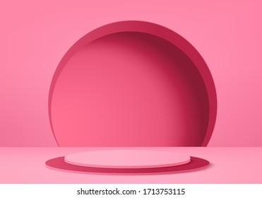 3d Pink abstract geometric background vector. Bright pastel podium or pedestal backdrop. Blank minimal design.  Empty 3D Pink pedestal winner. Stage for awards ceremony on website in modern.3D render