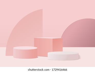 3d Pink abstract geometric background vector. Bright pastel podium or pedestal backdrop. Blank minimal design. Empty 3D rendering pink pedestal winner. Stage for awards ceremony on website in modern