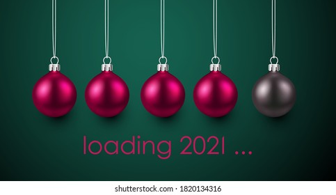 3d pink and grey metallic christmas tree toys hanging on threads. Pink loading 2021 sign on green background. Vector holiday illustration.