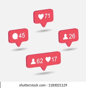 3d Pink like icon Instagram. like button insta, notification logo instagra, counter vector  illustration eps10