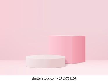 3D pink pastel product Podium on background vector platform. Abstract minimal geometry concept. Pink studio 3d stand platform. Business marketing presentation stage. 3D pink stage illustration render