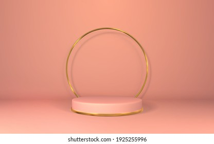 3d pink pedestal. Podium display on empty room. Stage for product on cylinder podium. Minimal style. Vector illustration.