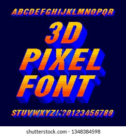 3d pixel alphabet font. Digital gradient letters and numbers. 80s arcade video game typescript.