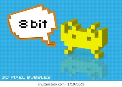 3d pixel arcade character with 8 bit bubble