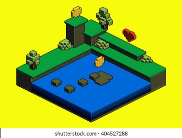 3D pixel art. Computer game world. Arcade game level