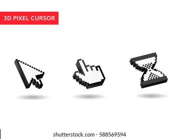 3d pixel mouse cursor