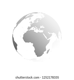3D planet Earth globe. Transparent sphere with grey land silhouettes. Focused on Africa and Europe.