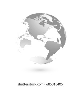 3D planet Earth globe. Transparent sphere with grey land silhouettes. Focused on Americas.