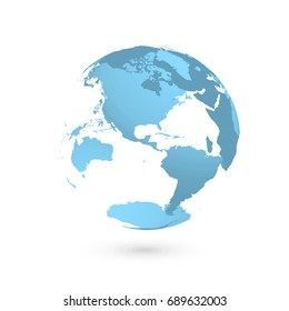 3D planet Earth globe. Transparent sphere with blue land silhouettes. Focused on Americas.