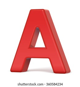 3d plastic red letter A isolated on white background