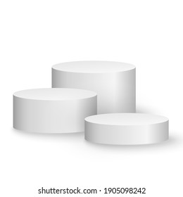 3d platform isolated on white background. Podium for performance or presentation. Empty pedestal. Group of cylinders. Vector illustration. EPS 10.